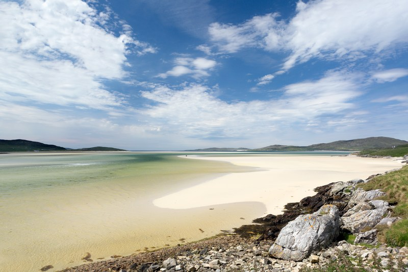 Sunny view of Luskentyre Beach in Scotland