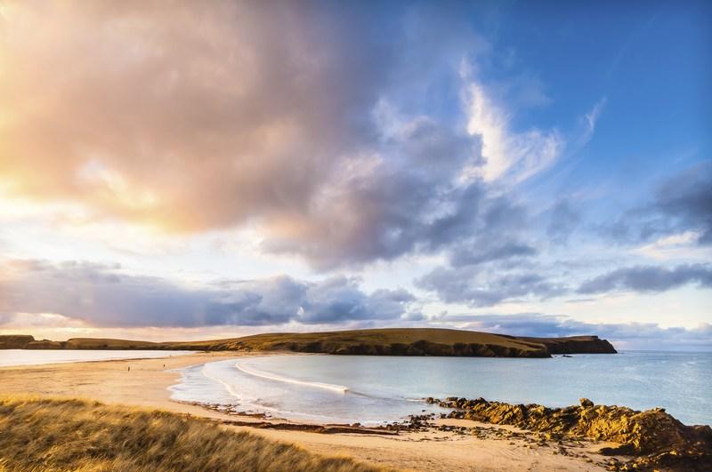 Stunning view of St Ninian's Beach in Scotland